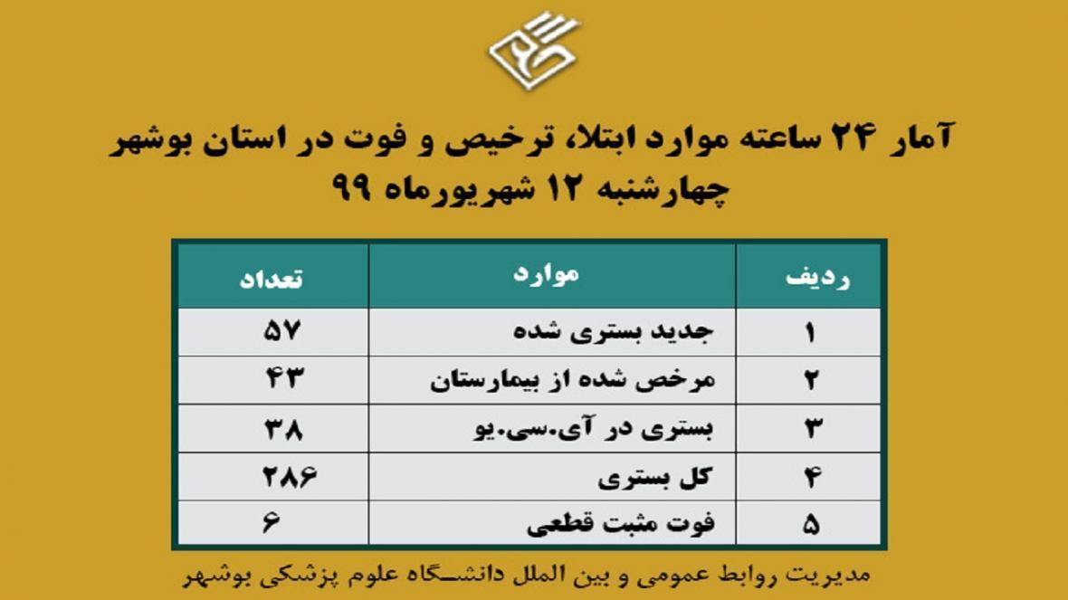 286 بیمار در بخش های کرونایی بیمارستان های بوشهر بستری هستند