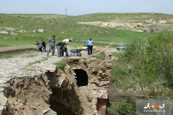عملیات احیا و بازسازی پل تاریخی ساروق تکاب شروع شد
